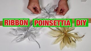 Christmas DIY / Dollar Tree  Ribbon Poinsettias  / Budget Christmas Decor