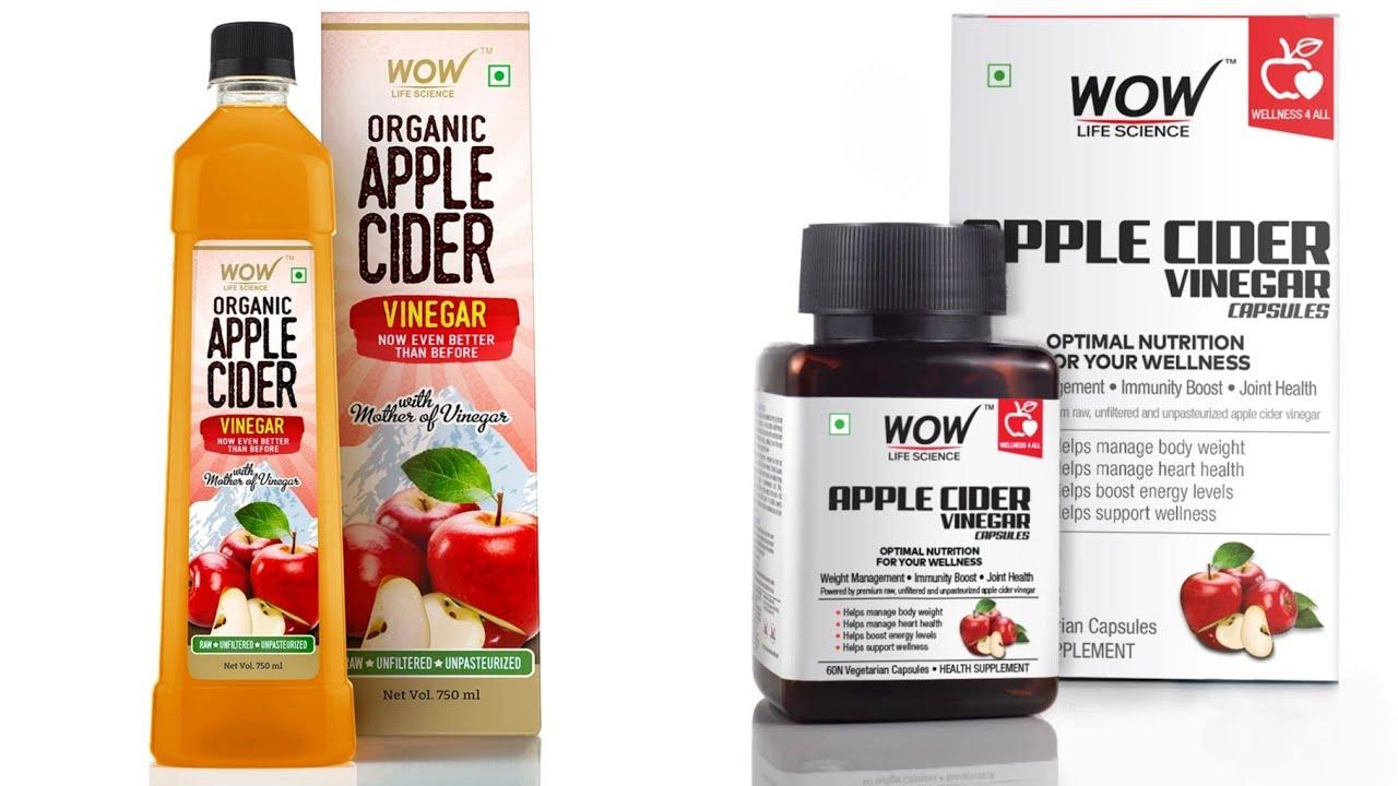 WOW Life Science Organic Apple Cider Vinegar & Raw Apple Cider Vinegar Vegetarian Capsules