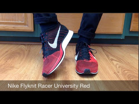 f455679556e6 On Foot REVIEW  Nike Flyknit Racer University Red - YouTube