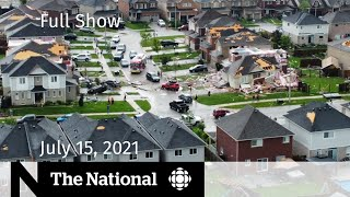CBC News: The National   Barrie tornado, Unmarked graves report, Olympic restrictions