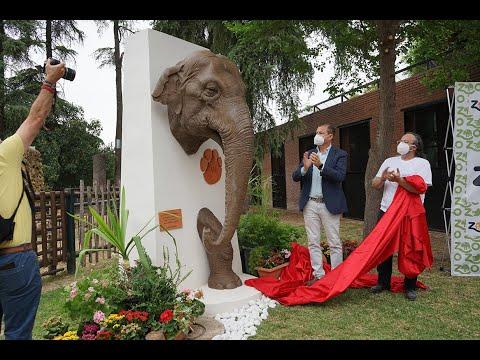 Una estatua homenajea a la elefanta Flavia en el Zoo de Córdoba