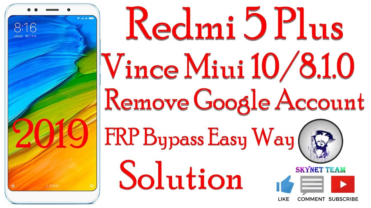 Redmi 5 Plus Miui 10 Android 8.1.0 Oreo Remove Google Account  FRP Bypass Easy Way