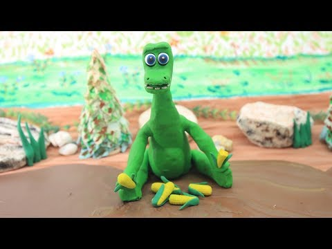 HUNGRY GREEN BABY DINOSAUR - Stop Motion Clay and Play Doh - Cartoons For Kids