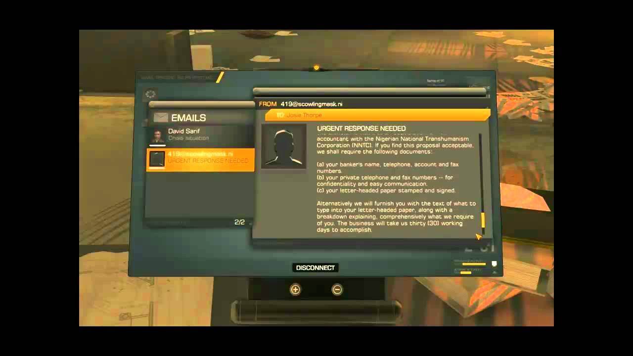 Deus Ex Human Revolution Easter Egg? - Nigeria Spam Letter - EVGA Forums