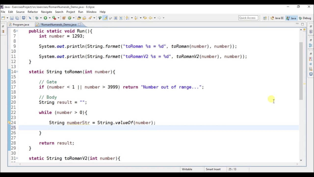 convert to roman number in java