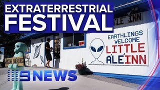 Thousands descend on rural Nevada for 'Area 51 Festival' | Nine News Australia