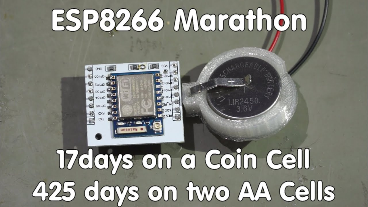 #58 ESP8266 Sensor runs 17 days on a coin cell/transmits data to  sparkfun com and ubidots com