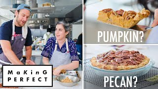 Claire saffitz and brad leone know that after turkey stuffing, a thanksgiving meal is judged on its pies. guests, all of whom have saved room in their st...