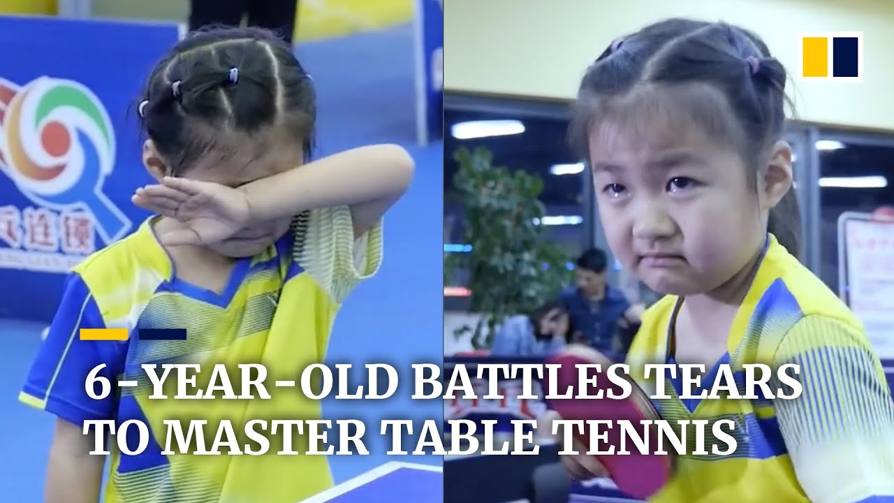 Download 6-year-old battles tears to master table tennis in China