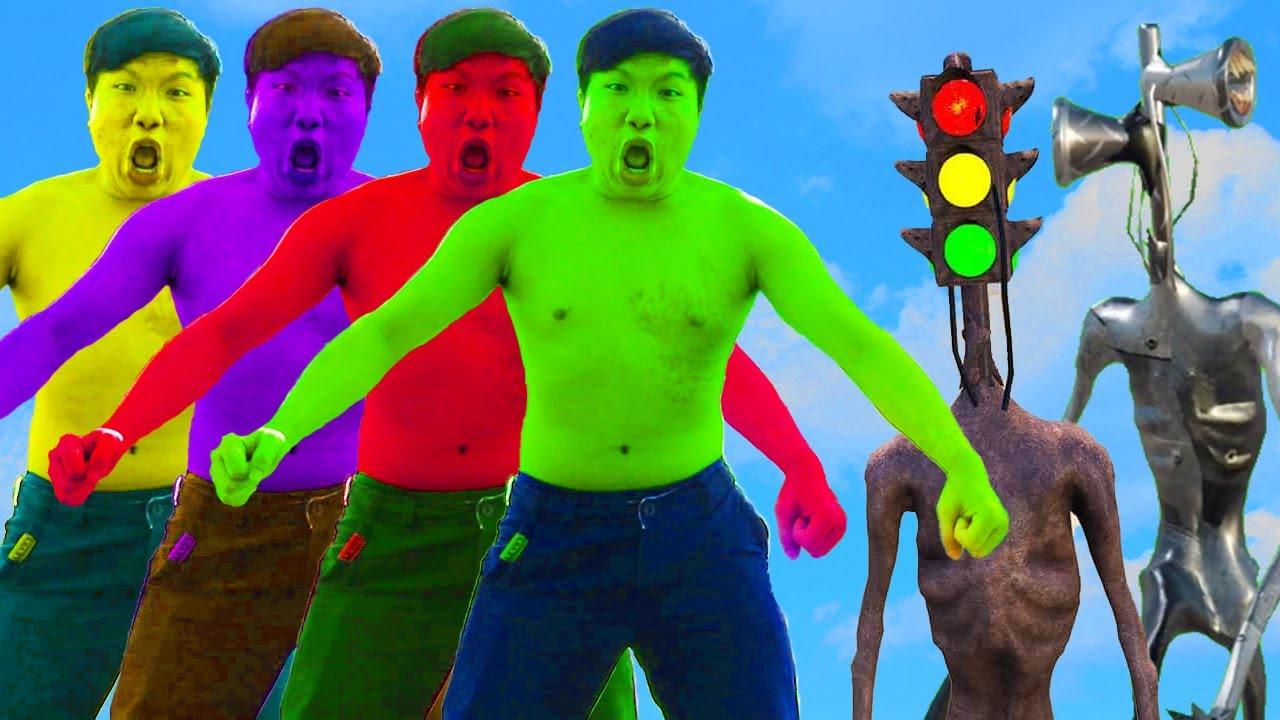 Download Team Hulk Vs Traffic Light Head, Metal Siren Head | Super Green