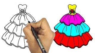 تعلم رسم الملابس و الازياء | كيف ترسم فستان جميل للاطفال || تعليم الرسم للاطفال