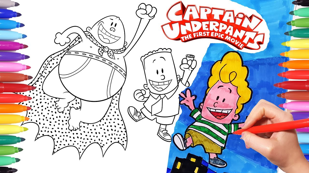 Captain Underpants Epic Movie Coloring Pages How To Draw Captain