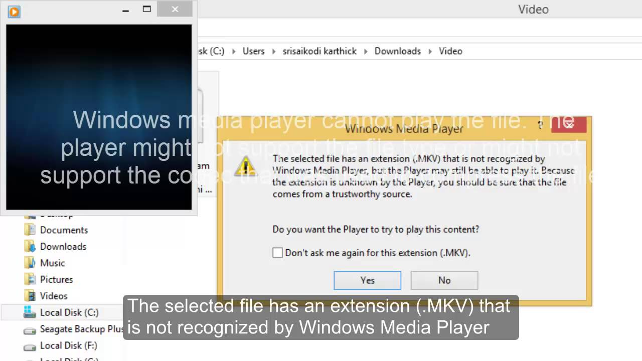 Codecs to play  mkv format video file in computer using Windows Media Player