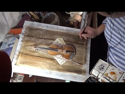 Violin On Wood Board Watercolor Painting From Photo Reference WIP Time Lapse