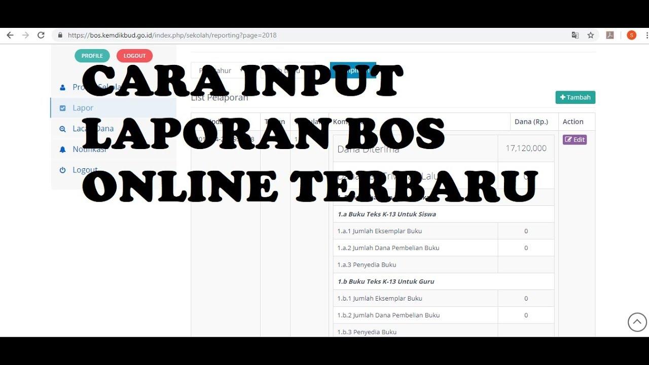Cara Input Laporan Bos Online 2019 Youtube