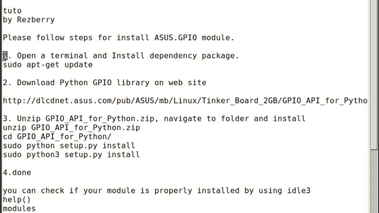 Asus tinker board configure ASUS GPIO modules