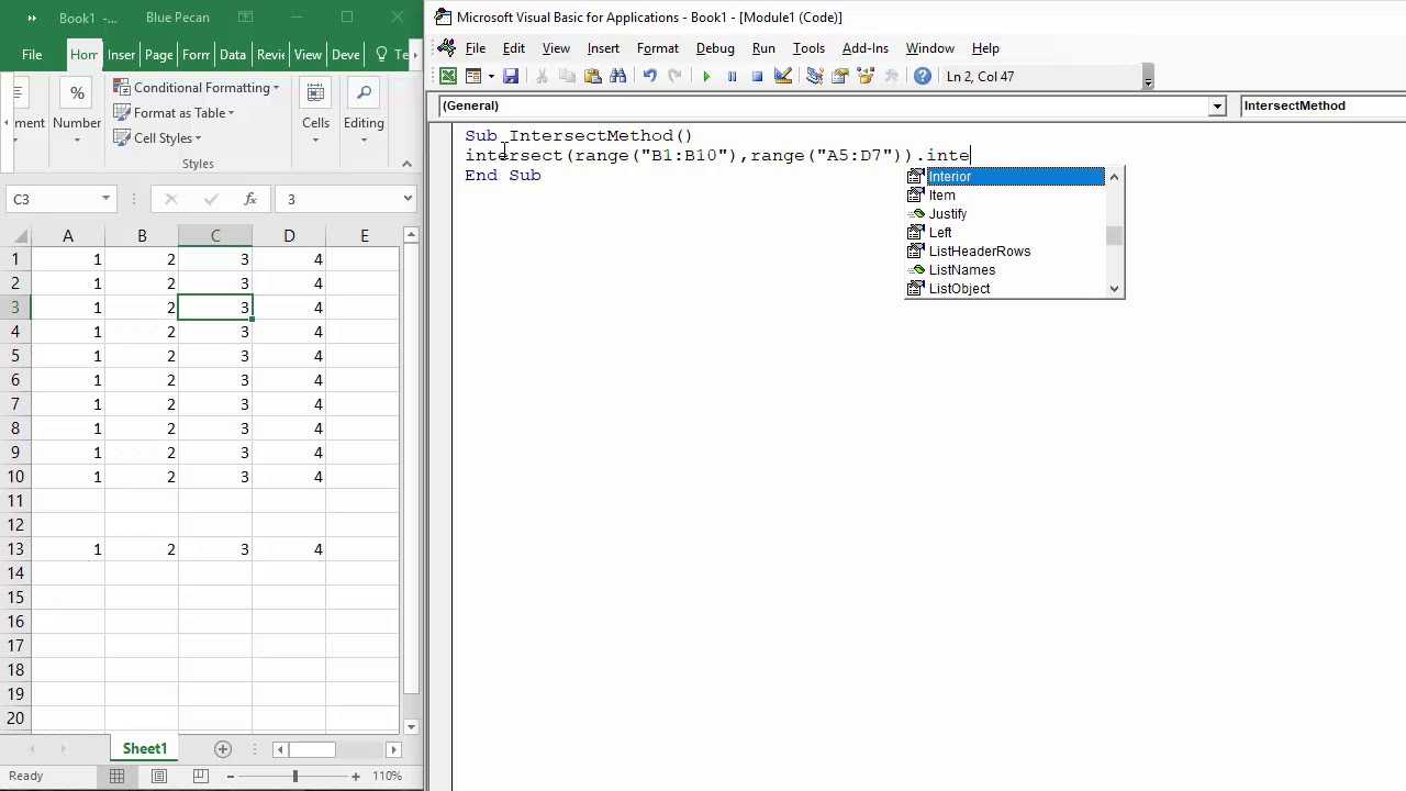 How to Use the Intersect Method in Excel VBA - Multiple Ranges - Row and  Column
