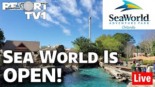 🔴Live: Sea World is OPEN!!  Opening Day Crowds, Changes, & More!