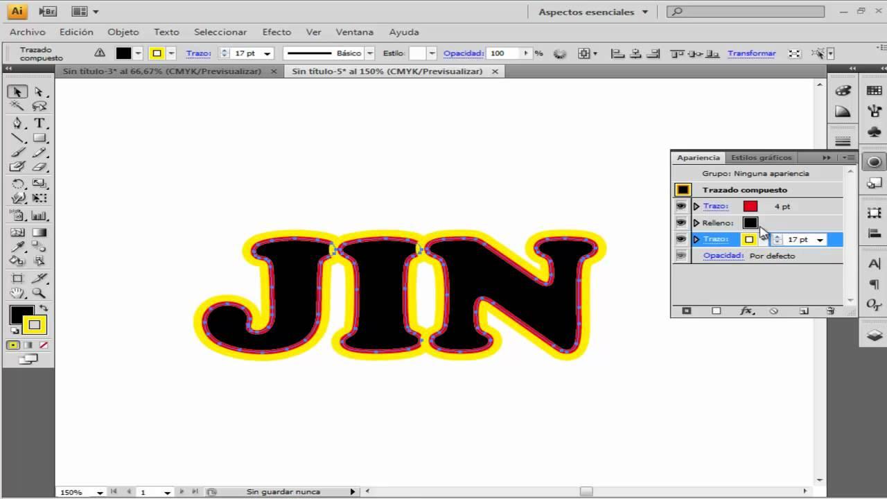 Como crear varios contorno a una letra en illustrator cs4 - YouTube