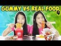 GUMMY VS REAL FOOD CHALLENGE [Part 4] | Tran Twins