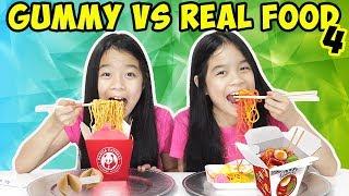 GUMMY VS REAL FOOD CHALLENGE [Part 4]   Tran Twins