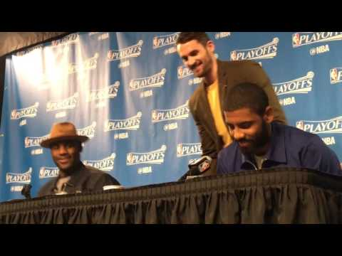 Kevin Love interrupts LeBron James and Kyrie Irving during Cavs post-game press conference