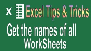 Get the Name of all worksheets | Excel VBA Programming Tips n Tricks #1