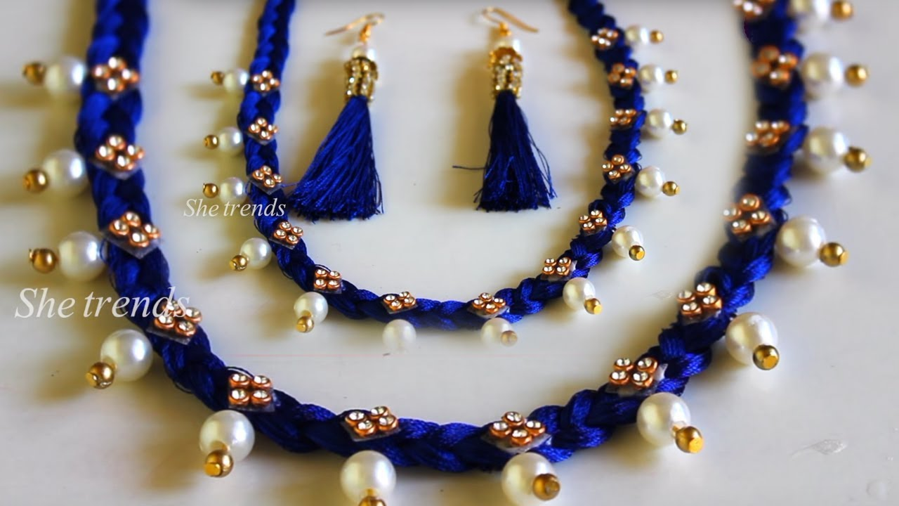 How To Make Pearl Beaded Necklace At Home Diy Jewellery Designs 2018 Jewellery Making Youtube