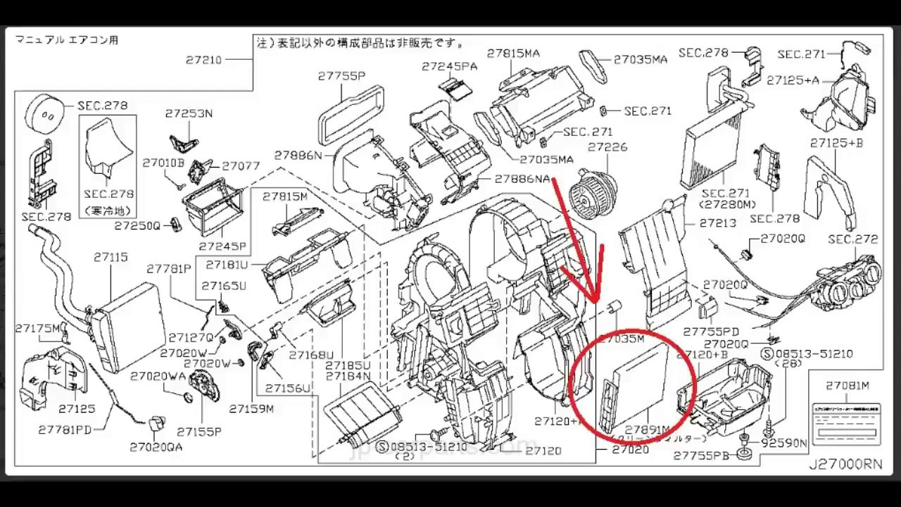 Nissan Wingroad Wiring Diagram Wire On A 97 240 How To Change Ac Filter Y12 Youtube