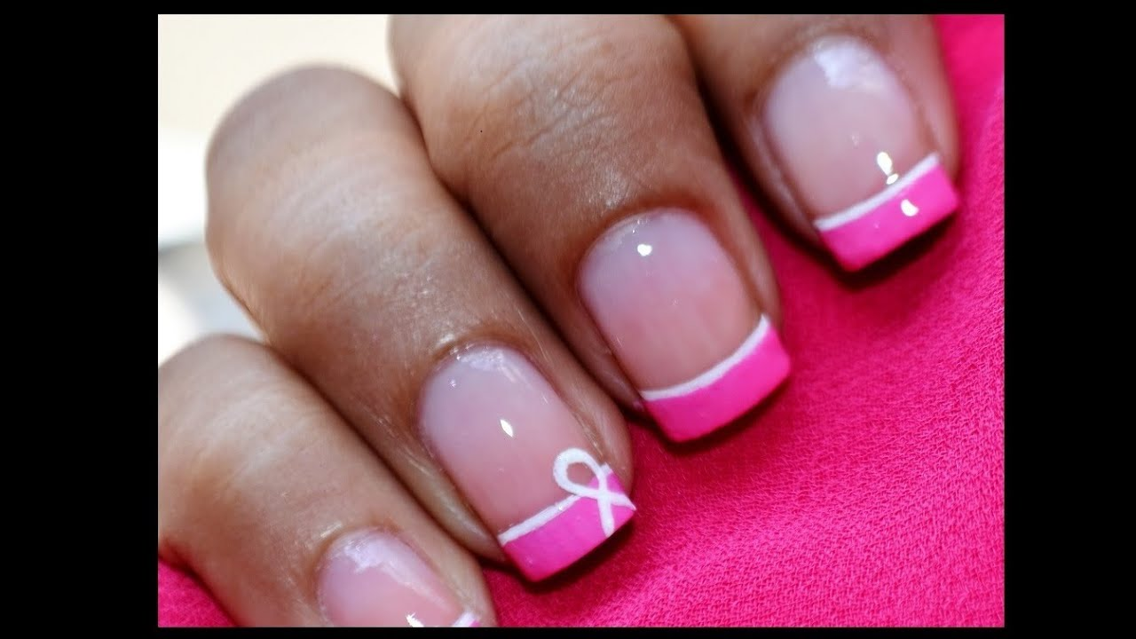 Breast Cancer Nails: Pink Nail Designs Tutorial! - YouTube