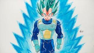 How To Draw Vegeta Super Sayian Blue - Step By Step (Tutorial) - Dragonball Super