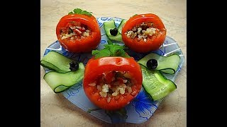 Корзиночки из помидор фаршированные. Закуска для оформления стола.