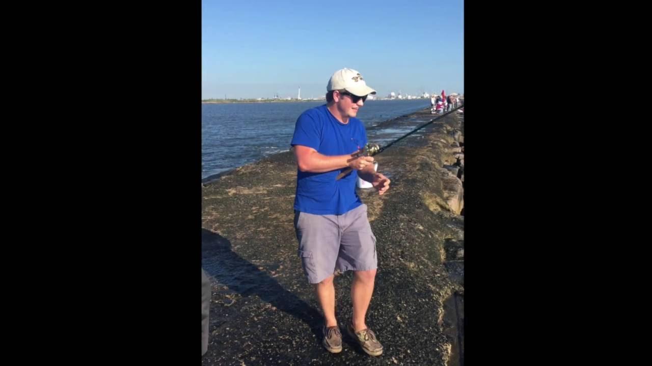 Fishing the surfside jetty park freeport tx youtube for Surfside fishing report