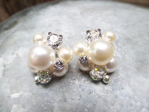 DIY Cluster Pearl Earrings Tutorial   Wedding Jewelry Series   eclecticdesigns