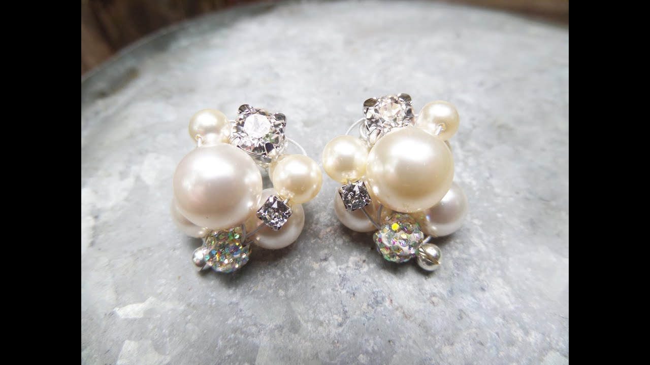 DIY Cluster Pearl Earrings Tutorial Wedding Jewelry Series