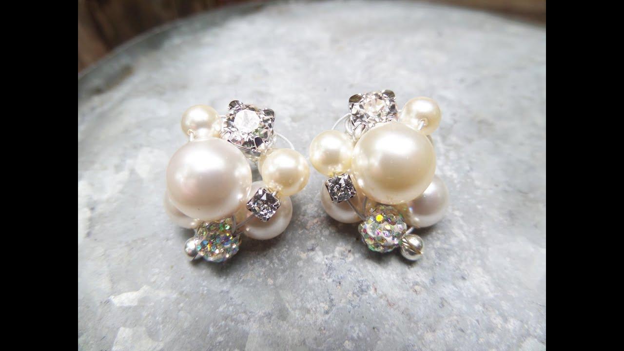 DIY Cluster Pearl Earrings Tutorial | Wedding Jewelry ...