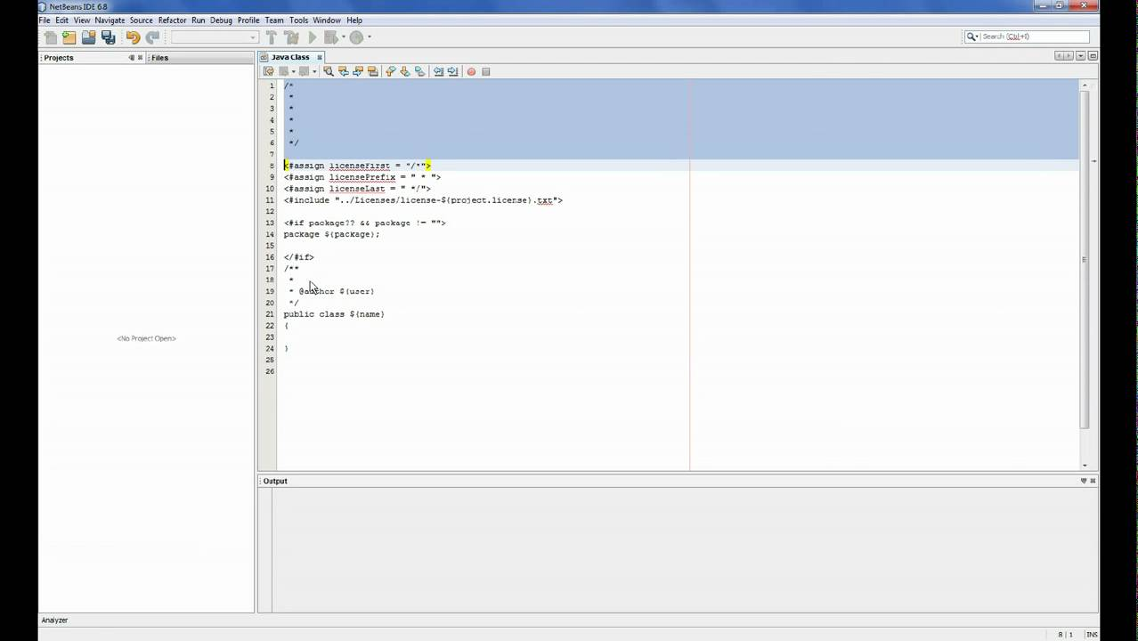 Netbeans 6 8 changing the template for the java class for What is template in java