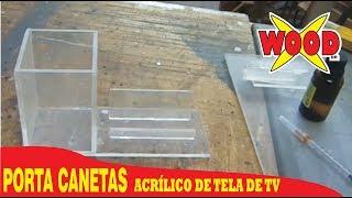 X-WOOD - PORTA CANETAS E CARTÕES DE VISITA DE ACRÍLICO - 100% RECICLADO