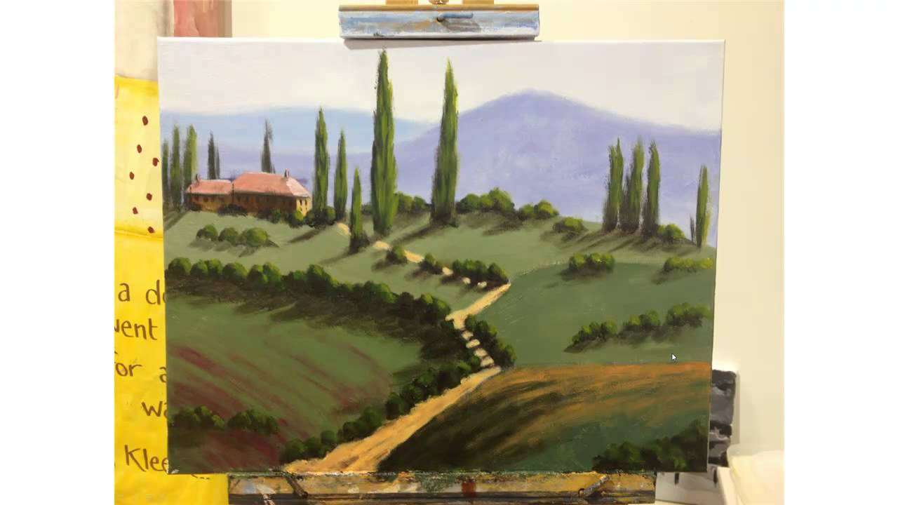 Tuscany Landscape Painting Step By Step Demonstration