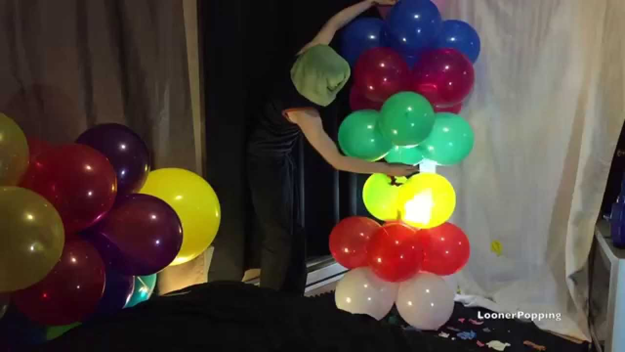 S7  Balloon Column By Squeeze And Pin Pop Looner Popping