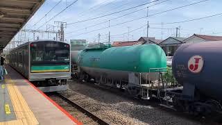JR南武支線(浜川崎支線)小田栄駅を入線.通過.発車する列車。