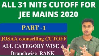 ALL 31 NITS CUTOFF FOR JEE MAINS | Josaa cutoff | Nit Colleges at low rank