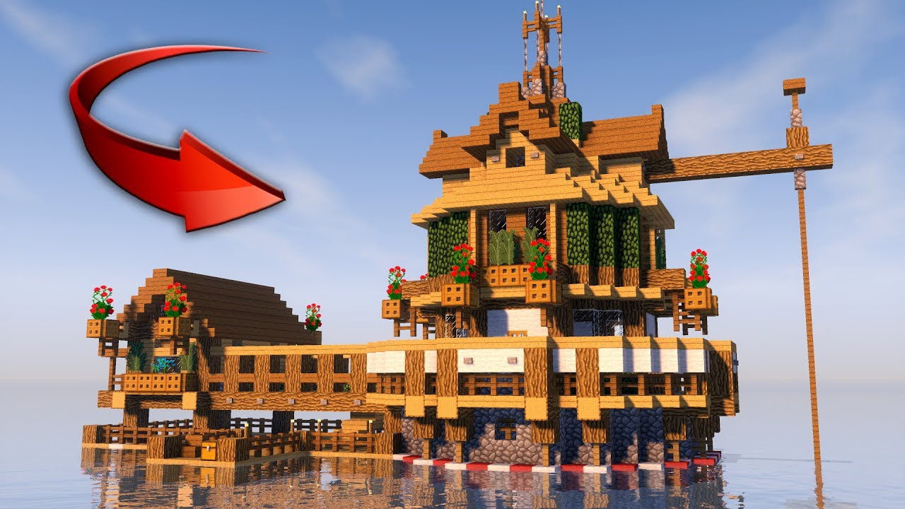 Survival House In Minecraft On The Water How To Make 2017 Youtube