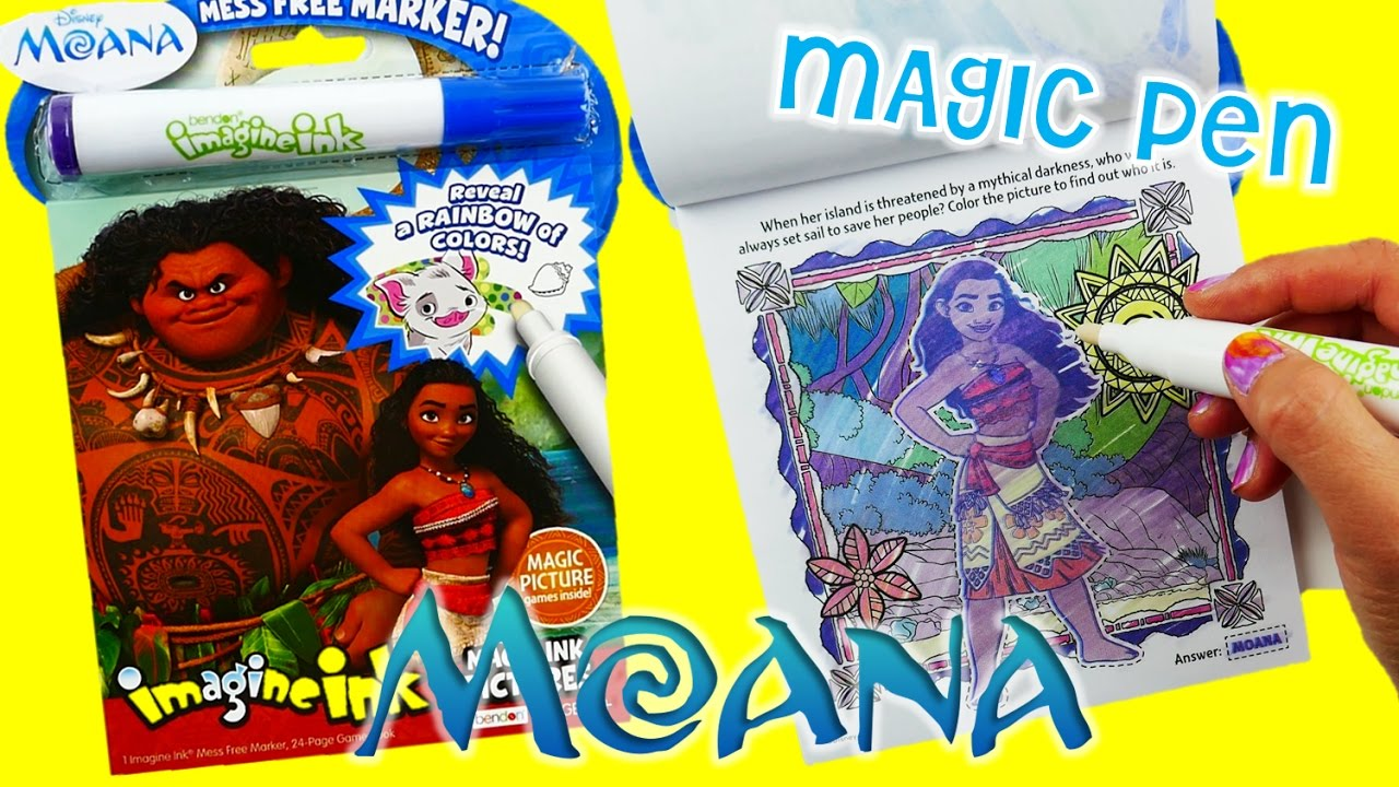 disney moana movie imagine ink coloring book rainbow color pen surprise evies toy house youtube - Imagine Ink Coloring Book