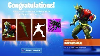 "The New STAGE 4 MAX ""HYBRID"" SKIN! ALL Unlocks Hybrid Challenges Fortnite Season 8"