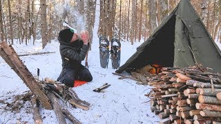 SOLO WINTER BUSHCRAFT CAMP- Post Ice Storm, Bowdrill, Canvas Tipi Shelter.