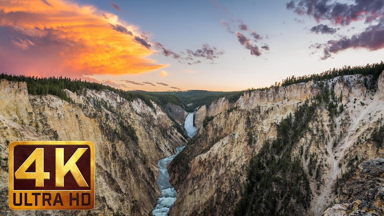 4k waterfall nature scenery with music and nature sounds waterfalls of yellowstone trailer - Background images 4k hd ...