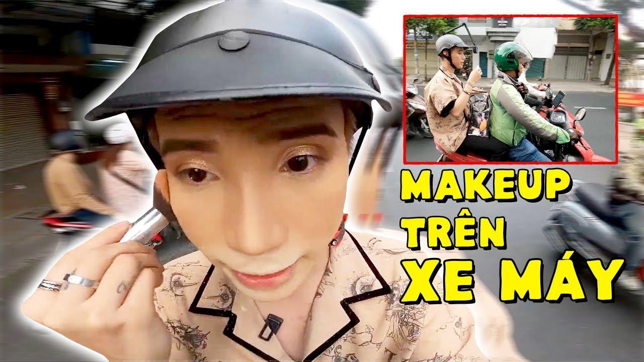 Thử Thách TRANG ĐIỂM Trên Xe Máy | Makeup On Motorbike Challenge – Ty Lê