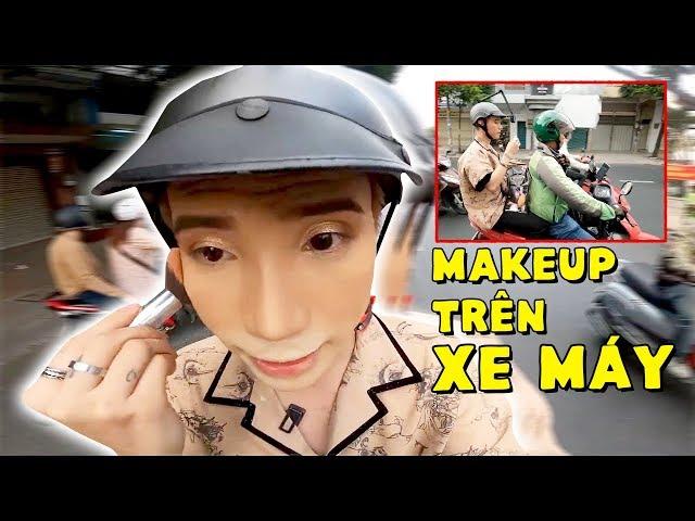 [Ty Lê] Thử Thách TRANG ĐIỂM Trên Xe Máy   Makeup On Motorbike Challenge - Ty Lê