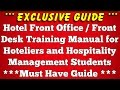 Hotel Front Office Training Manual for Hoteliers and Hospitality Management Students